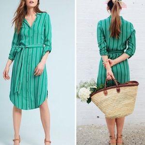 Anthropologie: Maeve Martina green belted Dress